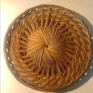 """Vintage Flat 14"""" Wicker Basket Tray Wall Art"""